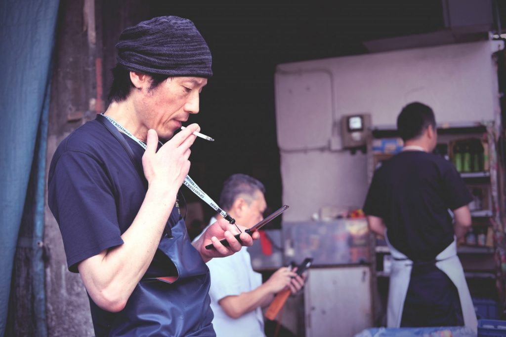 Japan Worker with a Cigarette
